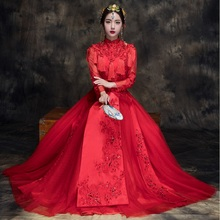 2017 New Chinese style elegant Wedding clothing Xiu he bride Red wedding dress cheongsam show kimono costume female toast Outfit spring and summer clothing xiu he chinese red wedding dress bride cheongsam phoenix gown chinese fashion show kimono outfit