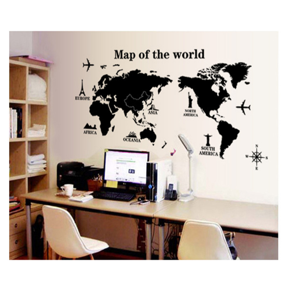 Kuke trip map of world black wall stickers office home removable kuke trip map of world black wall stickers office home removable wall art decal gumiabroncs Image collections