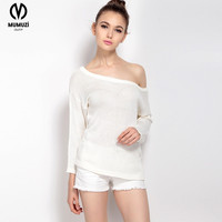 sexy off shoulder XL size shirt sweater tops puff sleeve long sleeved white backless knitted pullovers 2017 hemisier blusa
