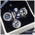 2016 Inverno NEW mulheres jóias Definir O céu azul estrela série Charme beads Set S925 Sterling Silver Bracelet Fit Europeu fet