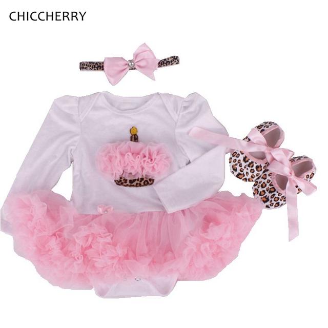 Cupcake cor de rosa 1 Ano de Aniversário Vestido Bonito Da Criança Roupas Das Meninas Headband & Sapatos de leopardo Conjunto Vestido Bebe Infantil Lace Tutus Romper