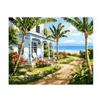 Summer Seaside Castle Pictures Oli Painting By Number On Canvas DIY Landscape Digital Coloring By Number