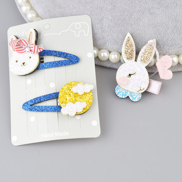1 set/piece Hot Sale Korean Sparking Hair Clip For kids Cute Rabbit Girls Popular Hair Rope Hair Accessories A300