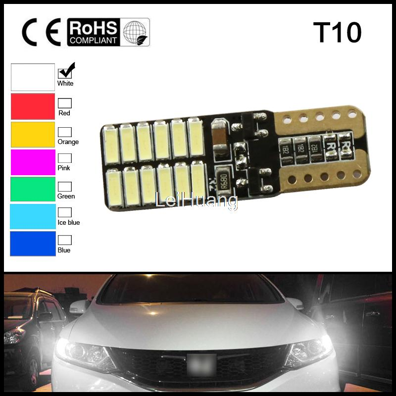 10x 12V 24V No polarity Canbus T10 LED bulbs with 4014SMD 24 leds Interior Light 194 168 W5W LED LAMP white blue NO OBC ERROR 2pcs lot bright double no error t10 led 194 168 w5w canbus 6 smd 5050 led car interior bulbs light parking width lamps
