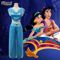 Anime Jasmine costume Animation cosplay suit dress for kids adult girls halloween clothing summer dress Aladdin and the magic l