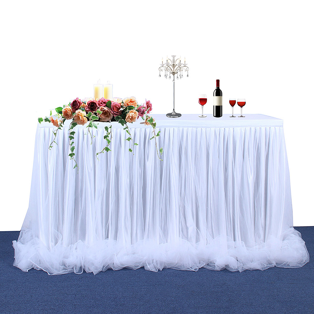 Handmade Tulle Table Skirt Tablecloth for Birthday Party Wedding Banquet Home Decoration Home Textile White Pink Table SkirtHandmade Tulle Table Skirt Tablecloth for Birthday Party Wedding Banquet Home Decoration Home Textile White Pink Table Skirt