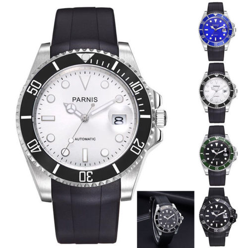 40mm parnis Black Blue White Dial ceramic bezel Rubber strap Luminous Marks Sapphire Glass Automatic movement men's Watch 40mm parnis white dial vintage automatic movement mens watch p25