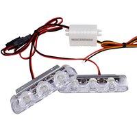 lamp dc 12v 2Pcs 3 LED Strobe Light 6W Police Flashing Warning Led Brake Light Lamp DC 12V Car Truck Motorcycle Rear Brake Stop Led Lights (2)