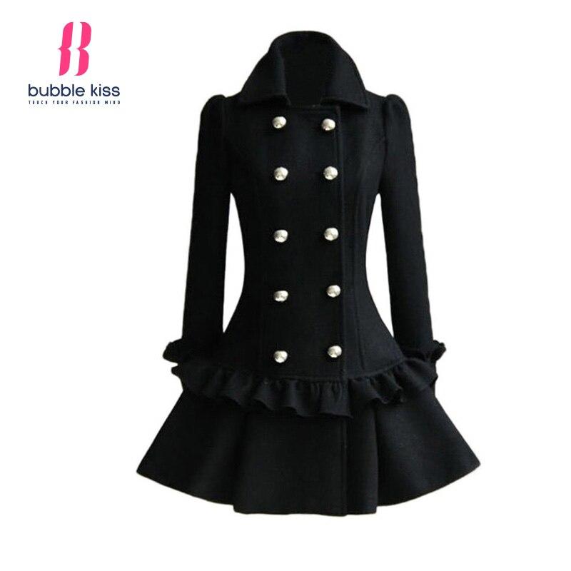 Elegant Women Winter Woolen Jacket And Coat Long Sleeve Double Breasted Ruffled Hem Turn Down Collar
