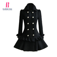 Elegant Women Winter Woolen Jacket And Coat Long Sleeve Double Breasted Ruffled Hem Turn Down Collar