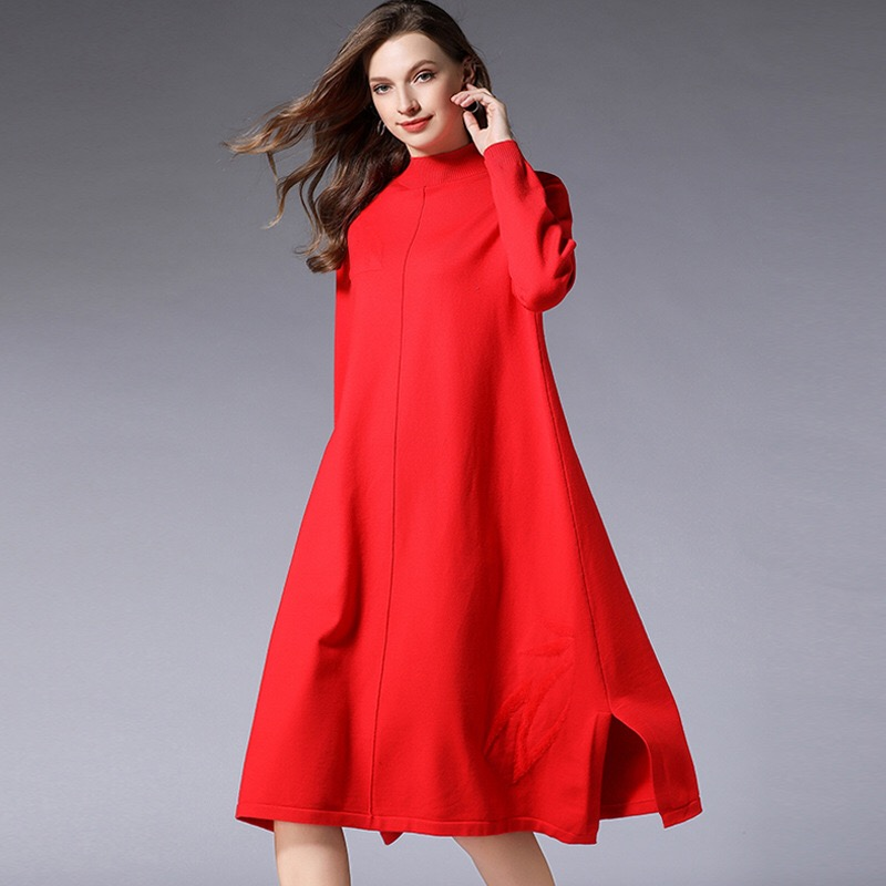 2018 Winter Plus Maternity Dress Solid Long Sleeve Round Collar Large Hem Casual Pregnancy Clothes Elegant Female Dress plus size bell sleeve mini lace dress with flounce hem