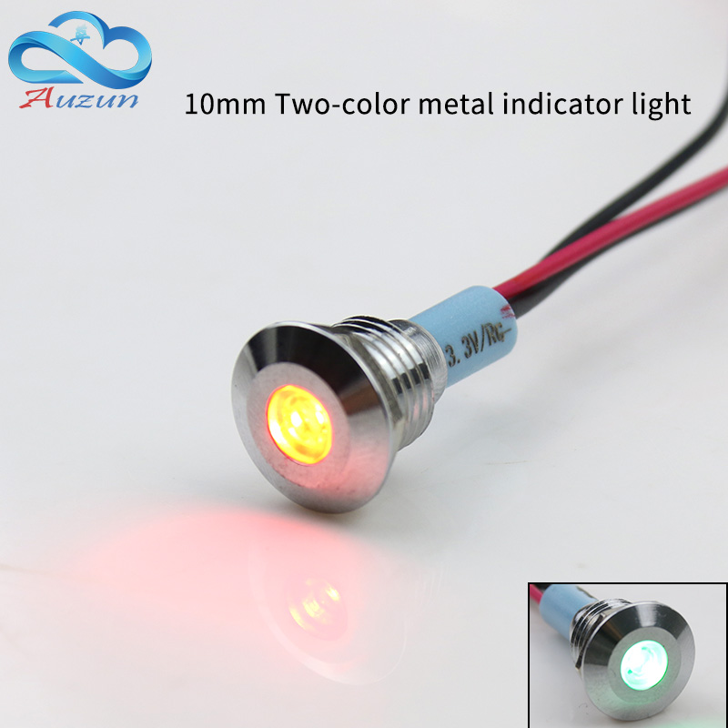 10mm Double-color Metal Indicator Light Positive Input Negative Input 3welding Feet 6V 12V 24V 110V 220V