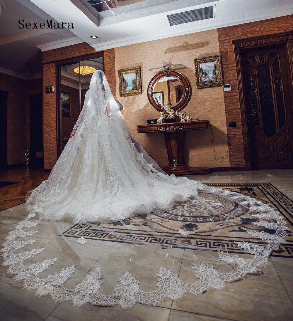 One Layer Cathedral Length Bridal Veil with Comb Lace Applique Tulle 3m Long Wedding Veils White/Ivory Wedding Accessories
