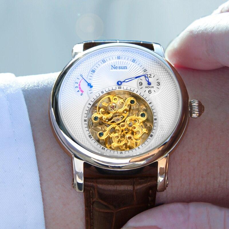Nesun Роскошные Бизнес Для мужчин полые Tourbillon Watch automatic Механические часы Для мужчин сапфир Водонепроницаемый Relogio Masculino