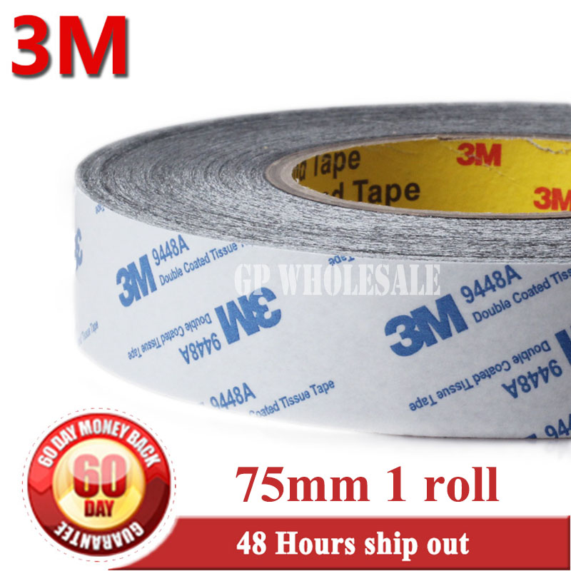 75mm*50M*0.15mm 3M 3M9448 BLACK Double Sided Adhesive Coated Tape for Foam Rubber LCD Display 55mm 50m super glue mark double sided tape 3m9448 black double sided adhesive acrylic high quality hardware sealers tape