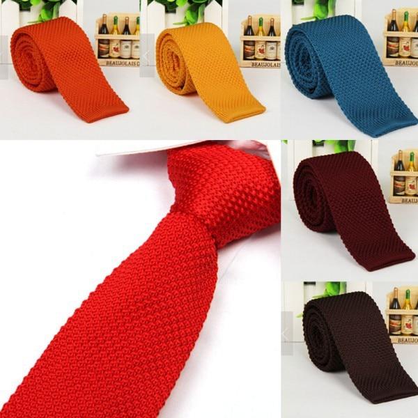 Best Price Men's Fashion Solid Tie Knit Knitted Tie Plain Necktie Narrow Slim Skinny Woven