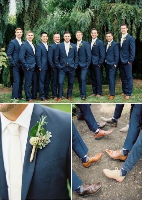 2017 Men Vintage Suits Cm 0438 Slim Groomsmen Coat Pant Blue Suit Wedding Latest