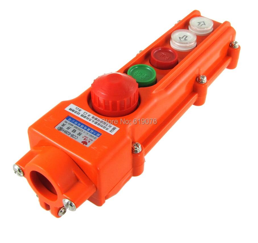 Rain Proof Hoist Crane Pushbutton Switch Up Down w Emergency Stop Knob COB-62BH [vk] av044746a200k switch pushbutton dpdt 6a 125v switch