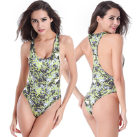 2016 New Europe Best selling Big small size printing Sexy Backless Bikini Piece swimsuit Beach Swimming Pool clothes