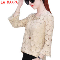 LA MAXPA 2017 New Autumn Loose Lace White Women Blouse Tops Long Sleeves Womenswear Casual Shirt Hollow Out Top