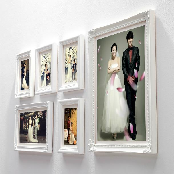 6 Pieces/Set Luxury Classic Vintage Photo Wall Frames Wood White Picture Frame  Wall Decor