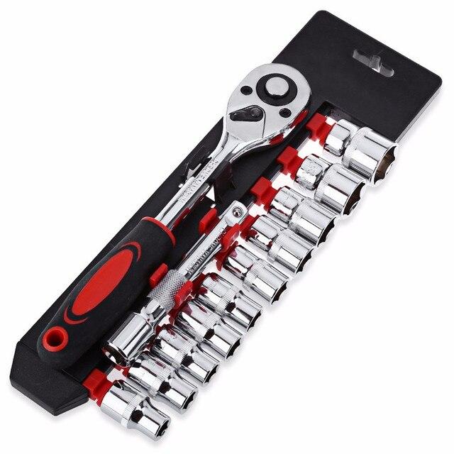 12 Stks/set Auto Reparatie Combinatie Pak Coffret Douille Cliquet Carbon Staal Kit Chaves De Precisao Multifunctionele Wrench Reparatie