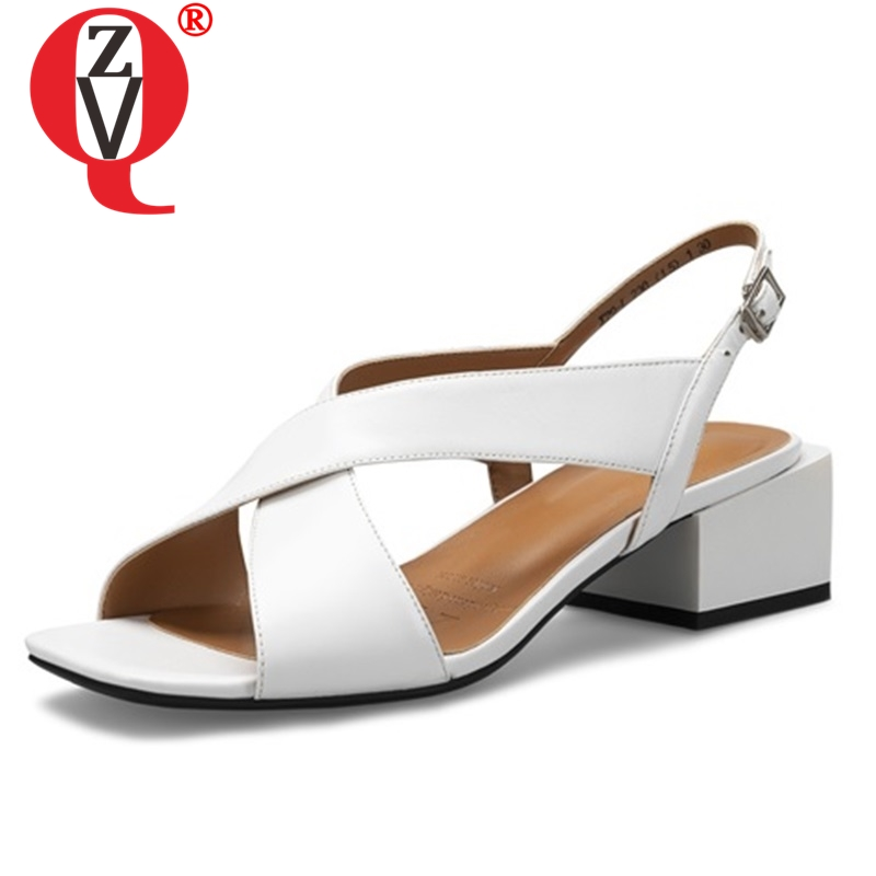 ZVQ shoes woman 2019 summer new concise high quality genuine leather woman sandals outside med square