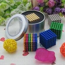 Envío libre 5mm 216 unids Metaballs Neo Cube Cubo Mágico Puzzle Neo Cubo de Bolas magnéticas con la caja de metal Imán Mágico ToysGift Navidad