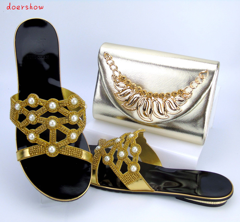 doershow Nice Looking African Women Matching Italian Shoe and Bag Set Italian Shoe with Matching Bag for Wedding PYS1-3 doershow italian shoe and bag set african lady shoes matching wedding party dress for free shipping puw1 11