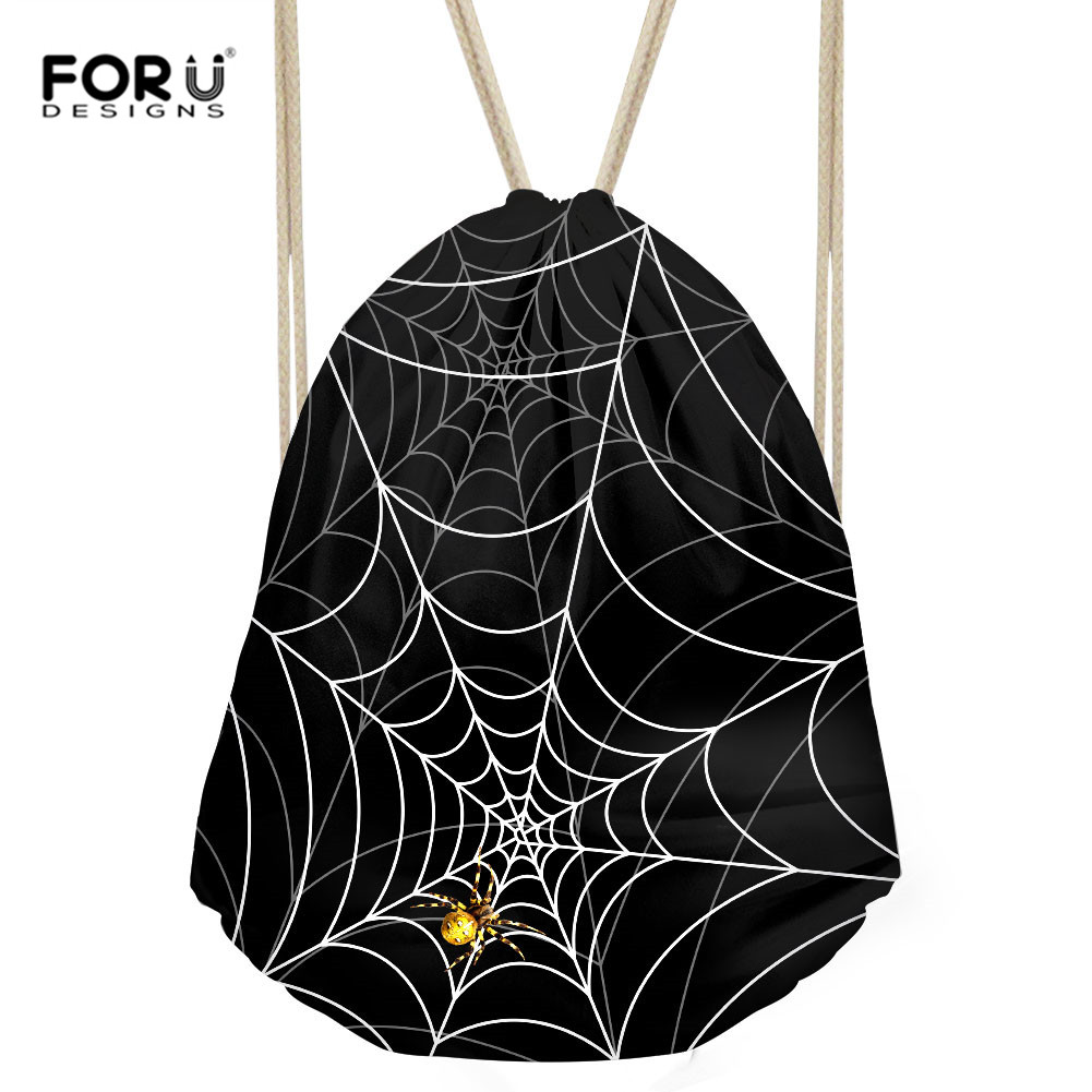 FORUDESIGNS Spider Print Men Backpacks Solid Bags Women Drawstring Backpack Rucksack Cool School Bags Travel Oganizers Sac A Dos