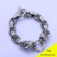 925 Sterling Silver Vintage Thai Wide Heavy Retro Men Double Leopard Head with Obsidian Bracelets Jewelry CH056592