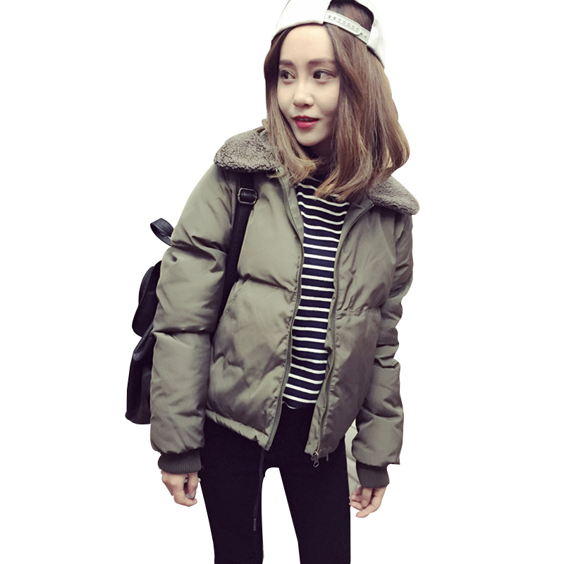 modis Autumn Winter Down cotton clothing   Basic     Jacket   Lambswool Bomber   Jacket   Women Long Sleeve   Jacket   Casual Fur collar   Jacket