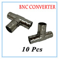 10Pcs BNC female three channel  Connector Extender for CCTV Camera Security Video Surveillance System