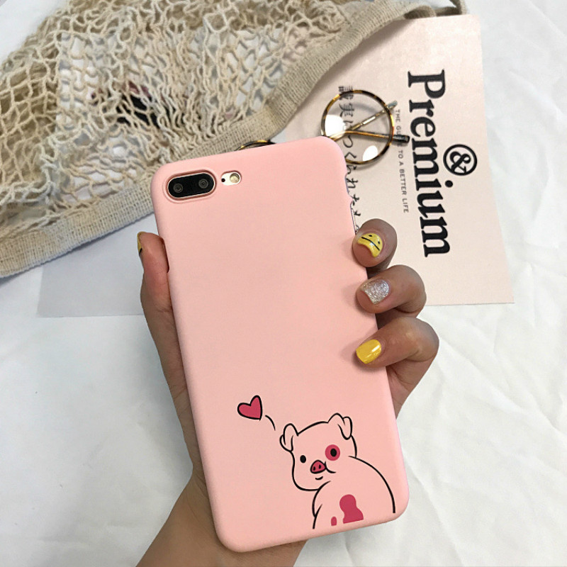 Gulynn cartoon pink pig phone case for iphone7plus matte plain hard PC back case for iphone6 6s 6plus for 8 8plus back cover