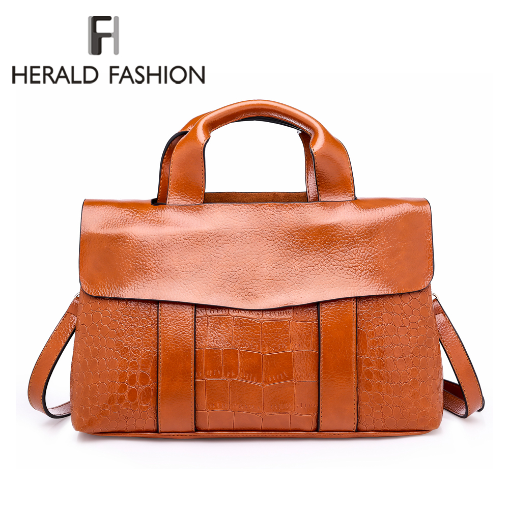 5b9916a39ebe Detail Feedback Questions about Herald Fashion New 2018 Women s Handbags  Quality Alligator Leather Female Shoulder Bag Casual Ladies  Top Handle Bags  sac ...