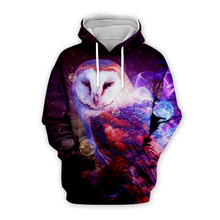 Unisex Galaxy purple night owl 3d Hoodies men women bird printing sweatshirts autumn long sleeve zipper pullover hooded coat