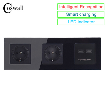 Coswall Dinding Kaca Kristal Panel Soket 16A Uni Eropa Outlet Listrik Dual USB Smart Charging Port 5 V 2A Output warna Hitam