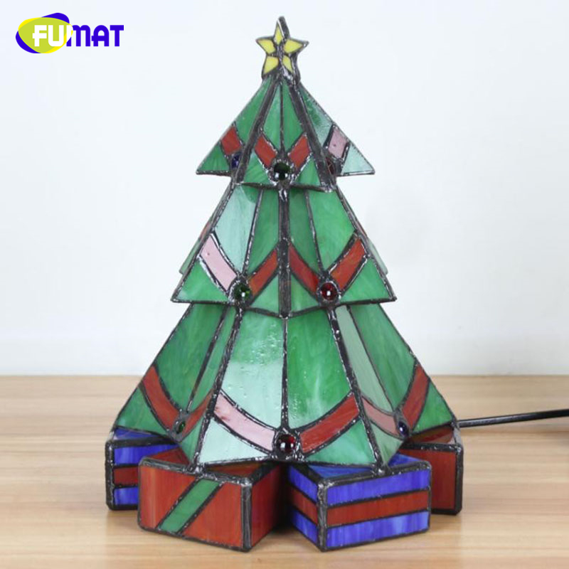 FUMAT Tifffany Christmas Trees Stained Glass Lights