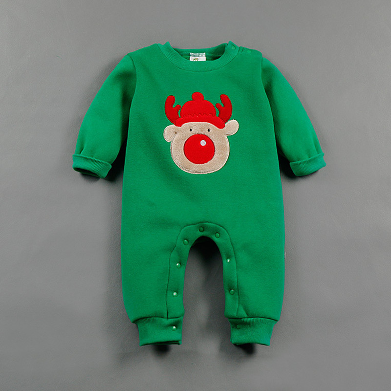 Baby Romper Newborn Baby Boy Clothes Winter long Cute Merry Christmas Red Elk Snowman One-piece infant Unisex clothing  R-002 unisex winter baby clothes long sleeve hooded baby romper one piece covered button infant baby jumpsuit newborn romper for baby