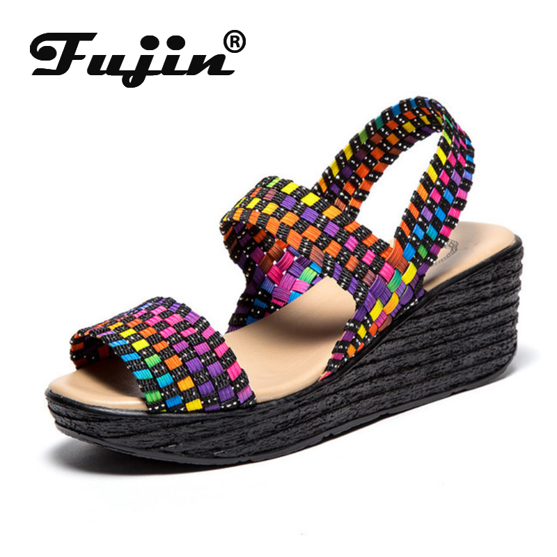 Fujin Sandals Elastic Women Summer Thick-Bottom Slope Cake Tight-Belt Code Hand-Woven