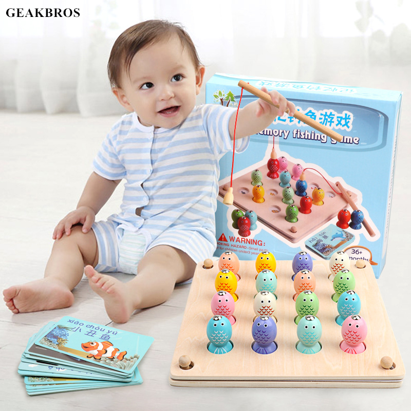 Kids Montessori Toys Wooden Magnetic Fishing Game Toy  Baby Educational Memory Toys Children Cognition Match Oyuncak Brinquedos