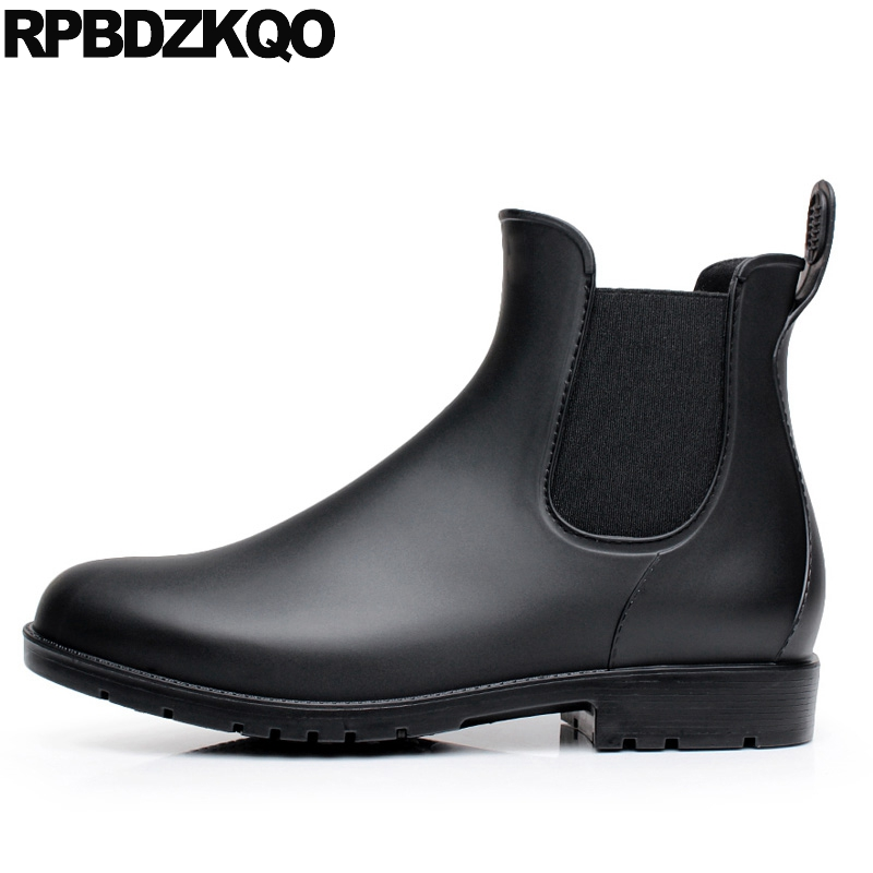 Pvc Chelsea Rain Casual Women Ankle Boots 2016 Round Toe Shoes Flat Platform Winter Waterproof Fur Black Big Size Booties 10