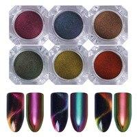 Olografica Chameleon Specchio Nail Powder Nail Art Chrome Pigmento Polvere Glitters Manicure Occhio di Gatto Del Chiodo Decorazione di Arte 6/8 Scatole