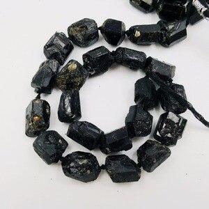 Image 3 - LiiJi Einzigartige Schwarz Tourmalines Riesige Lose Perlen Ca. 15x2 0mm/15x18mm Raw Stein 39cm machen Armband Halskette