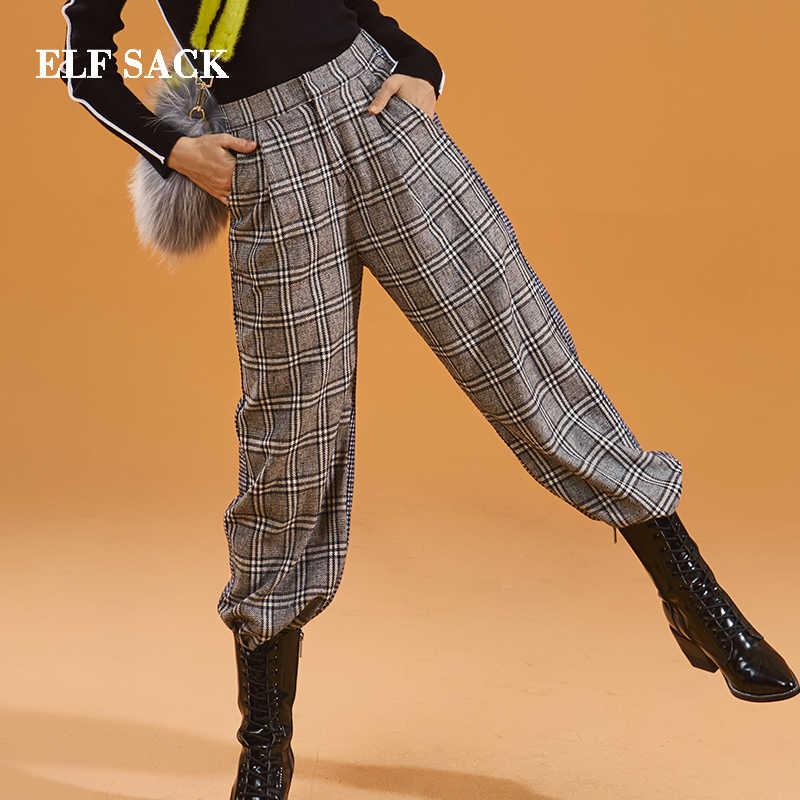 Эльф МЕШОК осень новые женские штаны Повседневная тканая в клетку средней длины женские брюки с широкими штанинами шик Винтаж полной длины Femme узкие джинсы