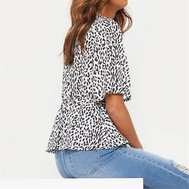 DAIFUN 2019 Chiffon Blouse Short Sleeve Leopard Print Blouse V neck Lady Office Shirt Tunic Casual Loose Tops Plus Size 7478 in Blouses amp Shirts from Women 39 s Clothing
