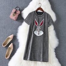 HAMALIEL/Новинка года; женская летняя футболка; модное серое платье-рубашка с короткими рукавами с вышивкой кролика и пайетками; Повседневное платье для девочек