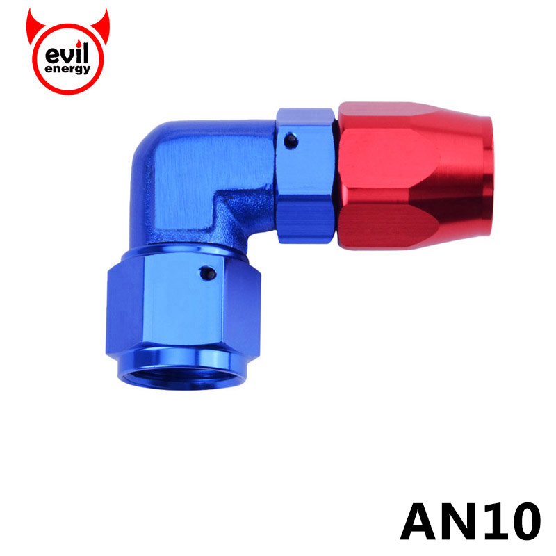 evil energy AN10 Enforced Hose End Fittings 90 Degree Elbow Aluminum Fitting Oil Fuel Hose Line Adapter Oil Cooler Kit