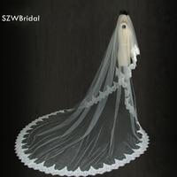 New Arrival 3 Meters Long Ribbon Edge Wedding Veil Bridal Veil Wedding Long Veils With Combs Veu De Noiva Sexy Bridal veils