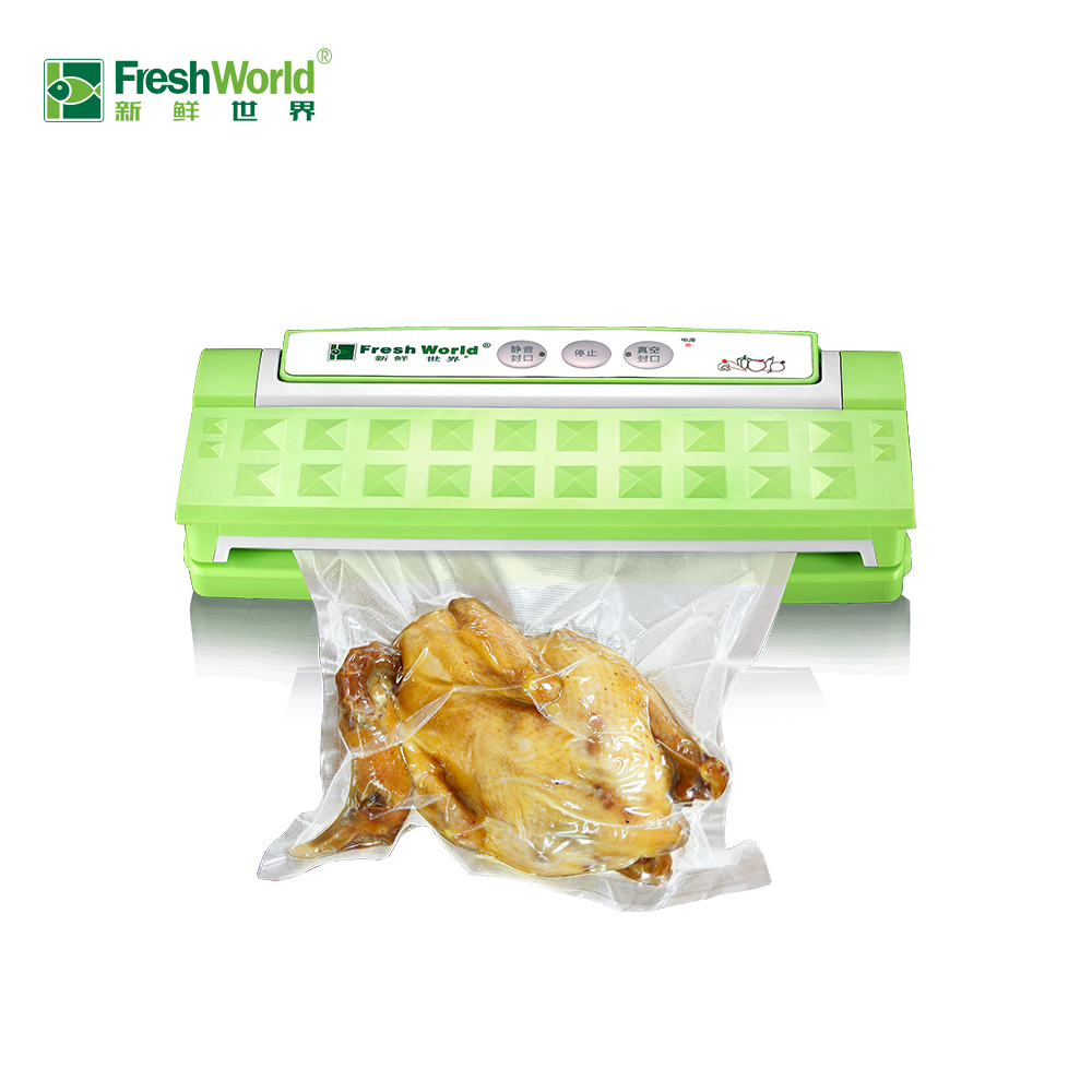 Fresh World 110v-220v Vacuum Sealer Automatic Food Packing Machine With Starter Kit Bags Best For Household Food Saver Dry Moist